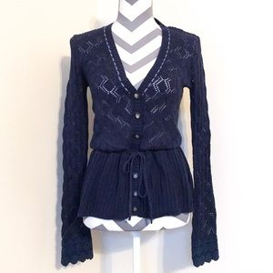Anthropologie Navy Crochet Tie Waist Cardigan